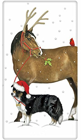 "Christmas Horse Reindeer Antler and Dog 100% Cotton Flour Sack Dish Tea Towel - Mary Lake Thompson 30"" x 30"""