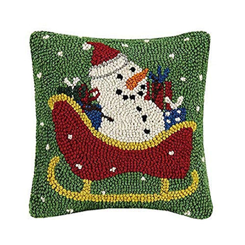"Snowman Christmas Sleigh Wool Hooked Pillow - 10"" x 10"""