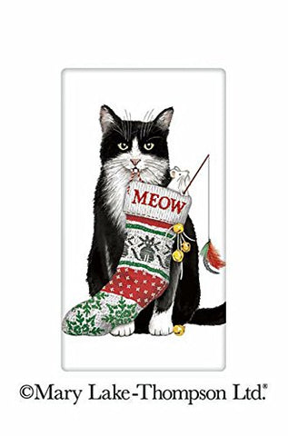 "Mary Lake Thompson Black And White Christmas Cat 100% Cotton Flour Sack Dish Tea Towel 30"" x 30"""
