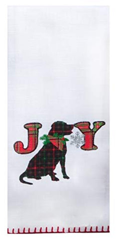 Kay Dee Designs -Holiday Tartan Dog Applique Joy, Dual Purpose Dish Towel, 16 x 26