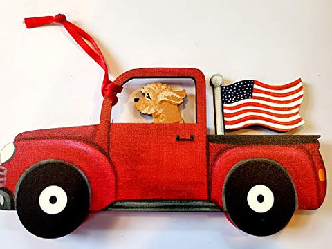Dandy Design Goldendoodle Dog Retro Flag Truck Wooden 3-Dimensional Christmas Ornament - USA Made.
