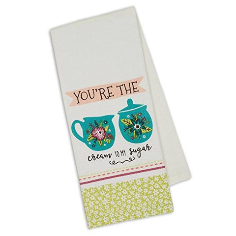 Cream & Sugar Tea Coffee Lovers Cotton Dish Towel