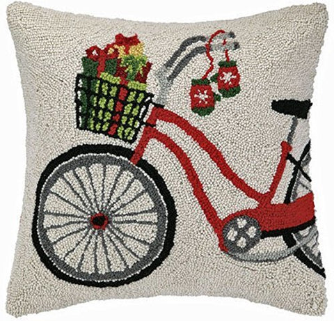 Holiday Presents on Bicycle Bike Hooked Throw Wool Pillow