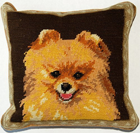 Standing Orange Pomeranian Dog Portrait Wool Needlepoint Throw Pillow - 10""