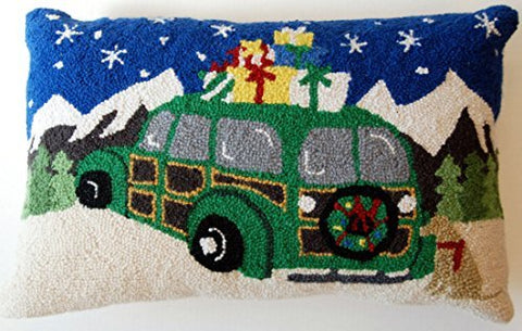 "Alpine Christmas Gifts Golden Retriever Woodie Station Wagon Wool Hooked Throw Pillow - 14"" x 22"""