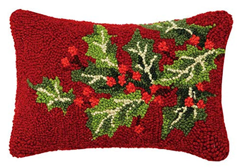 "Christmas Holly Berries Mini Hooked Wool Pillow - 8"" x 12"""