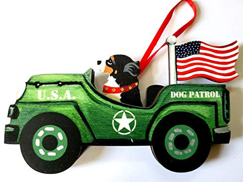 Dandy Design Bernese Mountain Dog Retro Flag Jeep Patrol Wooden 3-Dimensional Christmas Ornament - USA Made.