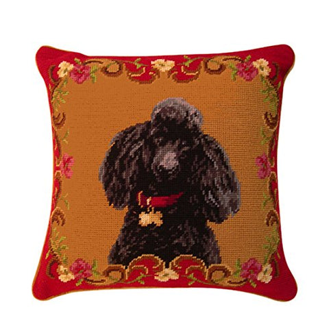 Black Poodle Dog Portrait Wool Needlepoint Throw Pillow 14""
