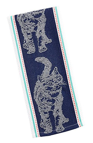 "Design Imports Feline Cat Jacquard Cotton Dish Towel - 18"" x 28"""