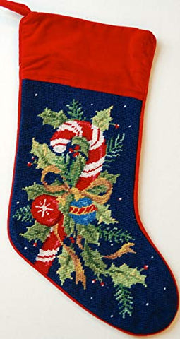 Holly and Candy Canes Wool Needlepoint Christmas Stocking