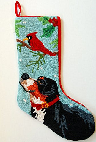 "Bernese Mountain Dog Cardinal Hooked Wool Large Christmas Stocking - 13"" x 21"""