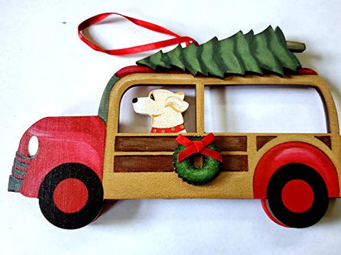 Dandy Design Yellow Labrador Retriever Dog Woody Woodie Car Wooden 3-Dimensional Christmas Ornament - USA Made.