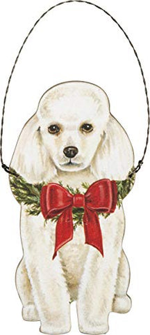 White Poodle Dog Hanging Wooden Christmas Ornament