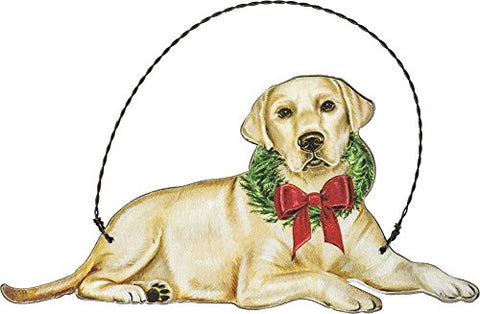 Yellow Lab Labrador Retriever Hanging Dog Christmas Wooden Ornament