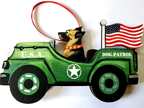 Dandy Design German Shepherd Dog Retro Flag Jeep Patrol Wooden 3-Dimensional Christmas Ornament - USA Made.