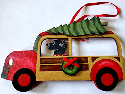 Dandy Design Black Labrador Retriever Dog Woody Woodie Car Wooden 3-Dimensional Christmas Ornament - USA Made.