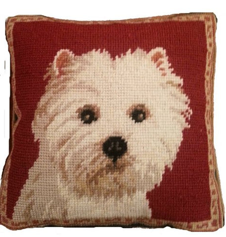 "West Highland Terrier Dog Portrait Needlepoint 10"" Throw Pillow"