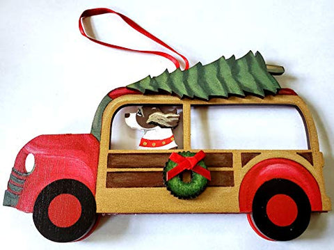 Dandy Design Liver English Springer Spaniel Dog Woody Woodie Car Wooden 3-Dimensional Christmas Ornament - USA Made.