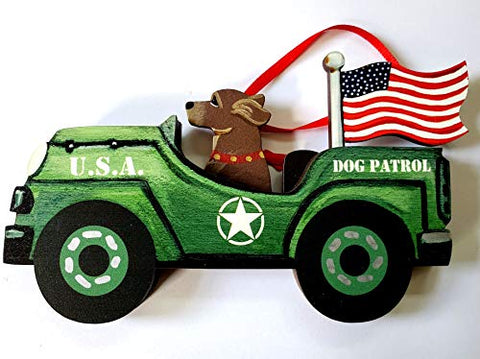 Dandy Design Chocolate Labrador Retriever Dog Retro Flag Jeep Patrol Wooden 3-Dimensional Christmas Ornament - USA Made.