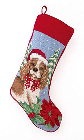 Cocker Spaniel Dog Wool Needlepoint Christmas Stocking, 11 x 18 Inch