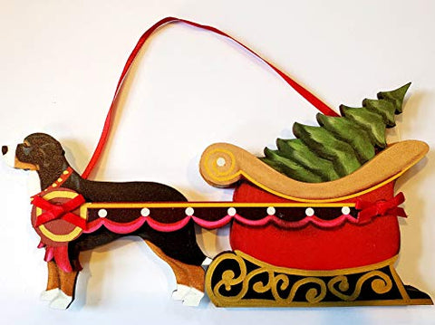 Dandy Design Greater Swiss Mountain Dog Sleigh Pull Wooden 3-Dimensional Christmas Ornament - USA Made.