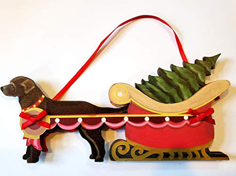 Dandy Design Chocolate Labrador Retriever Dog Sleigh Pull Wooden 3-Dimensional Christmas Ornament - USA Made.