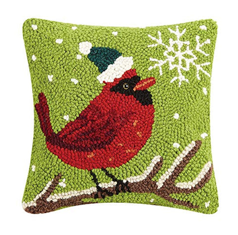 "Festive Winter Snowflake Cardinal Hooked Wool Pillow - 10"" x 10"""
