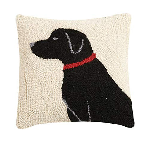 "Black Labrador Red Collar Dog Hooked Wool Pillow - 10"" x 10"""