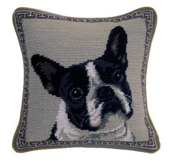 Boston Terrier Dog Portrait Needlepoint Throw Pillow 10""