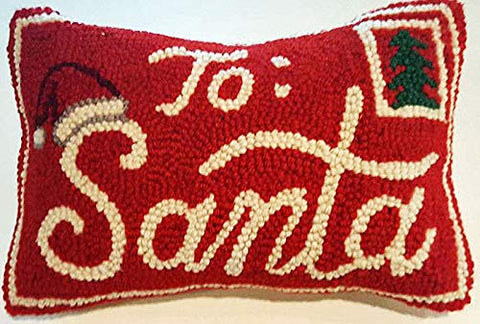 "Peking Handicraft Santa Claus North Pole Mail Mini Hooked Wool Pillow – 8"" x 12"""