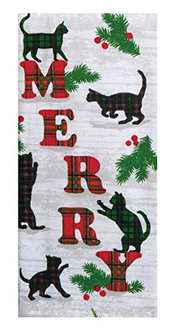 Kay Dee Designs - Holiday Feline Cats Dual Purpose Dish Towel, 16 x 26