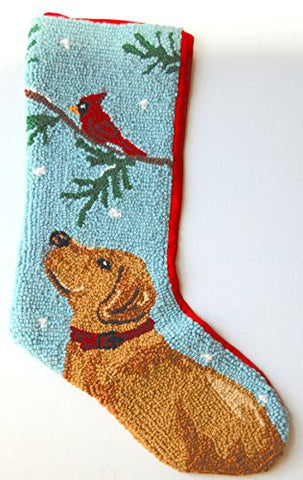 "Yellow Labrador Retriever Mistletoe Hooked Wool Large Christmas Stocking - 13"" x 21"""