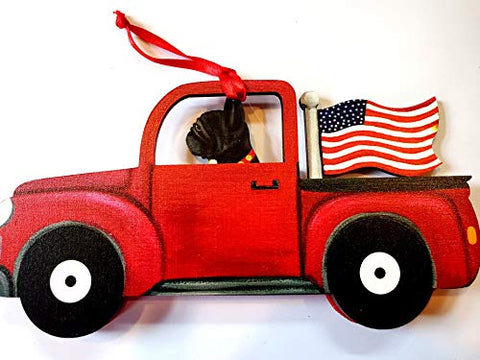 Dandy Design Black French Bulldog Dog Retro Flag Truck Wooden 3-Dimensional Christmas Ornament - USA Made.