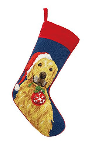 Golden Retriever with Santa Hat and Ornament Christmas Stocking, Wool Needlepoint, 11 Inch X 18 Inch