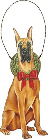 Great Dane Dog Wooden Hanging Christmas Tree Ornament