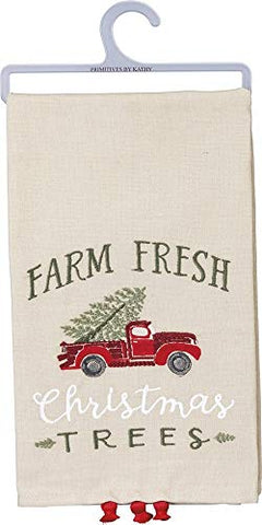 Embroidered Farm Fresh Christmas Trees Linen Blend Dish Towel