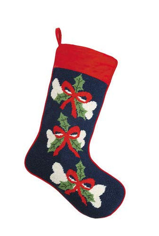 "Dog Bones with Red Ribbon Holly Needlepoint Christmas Stocking 18"" x 11"""