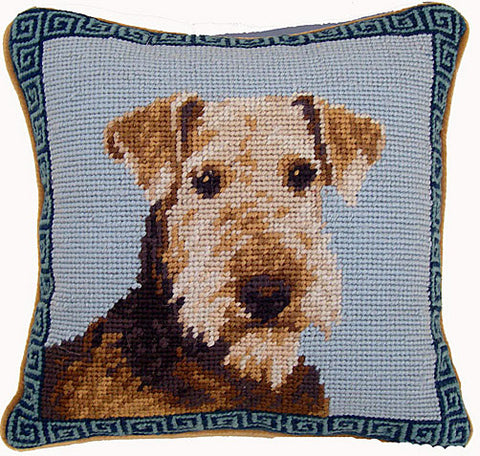 "Airedale Terrier Dog Portrait - 10"" Needlepoint Dog Pillow"