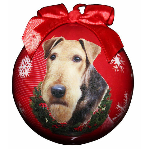Airedale Dog Snowflake Christmas Ornament Shatter Proof Ball 3""