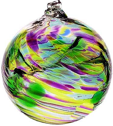 "Kitras Art Blown Glass 6"" Birthstone Birthday Ball - May"