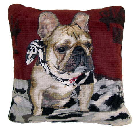 "Tan French Bulldog Dog - 14"" Needlepoint Dog Pillow"