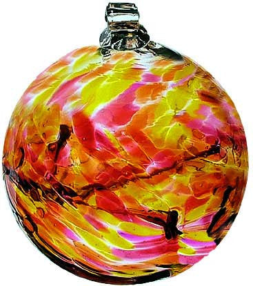 "Kitras Art Blown Glass 6"" Birthstone Birthday Ball - October"