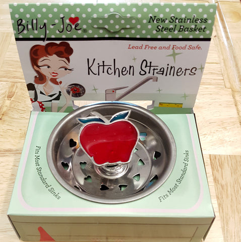Candy Apple Enamel Stainless Steel Sink Strainer