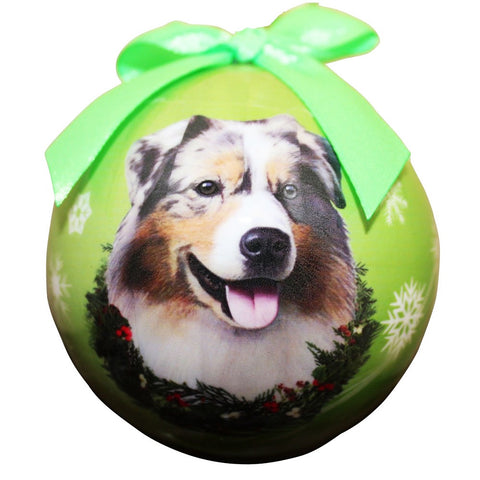 Australian Shepherd Dog Snowflake Christmas Ornament Shatter Proof Ball - 3""