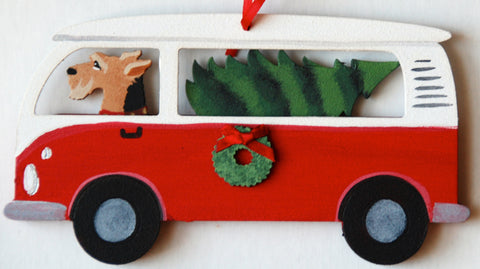 Hippie Van Bus Dog Wood 3-D Hand Painted Ornament - Airedale Terrier