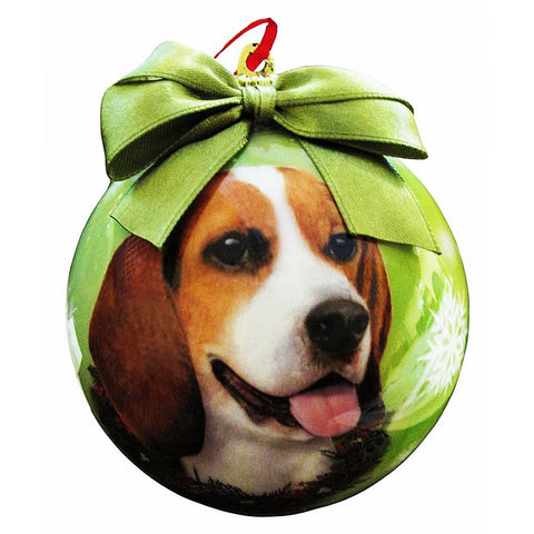 Beagle Hound Dog Snowflake Christmas Ornament Shatter Proof Ball 3""