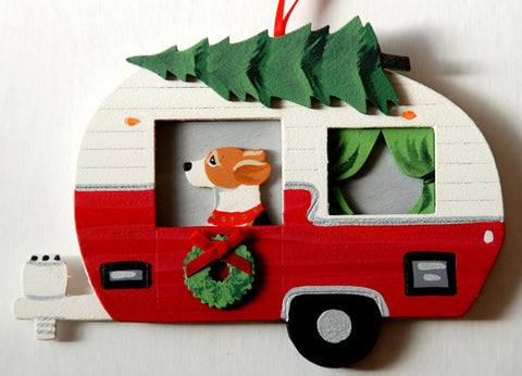 Retro Camper Trailer Dog Wood 3-D Hand Painted Ornament - Beagle Hound