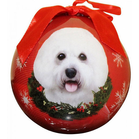 Bichon Frise Dog Snowflake Christmas Ornament Shatter Proof Ball 3""