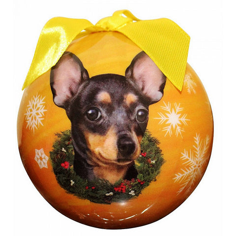 Black Chihuahua Dog Snowflake Christmas Ornament Shatter Proof Ball - 3""
