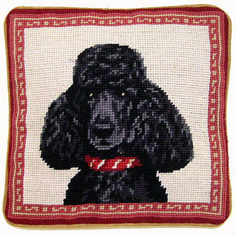 "Black French Poodle Dog Portrait - 10"" Needlepoint Dog Pillow"